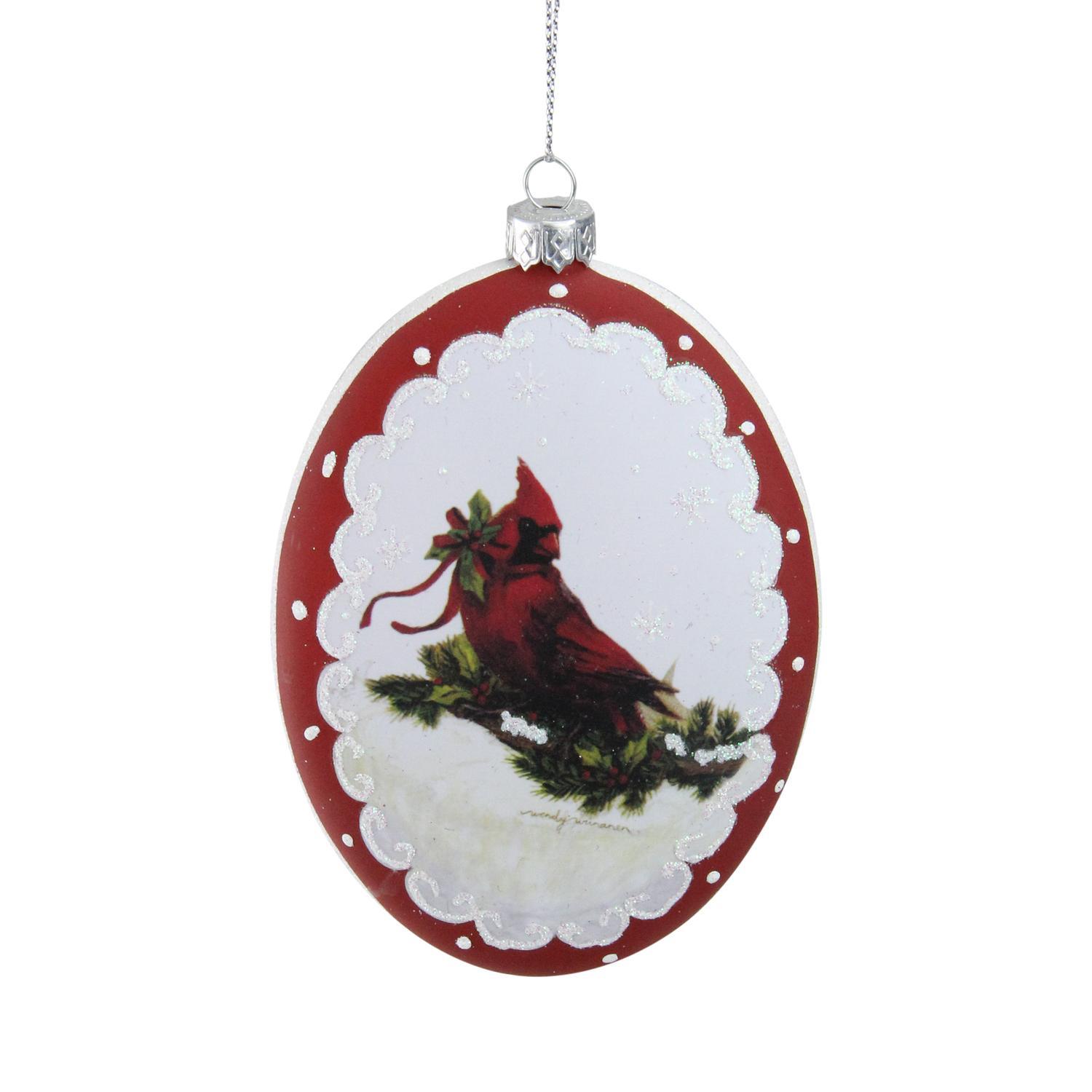 "Roman 5"" Cardinal with Holly and Berry Glittered Christmas Ornament - White/Burgundy"