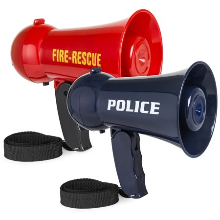 Best Choice Products Set of 2 Pretend Play Kids Fire and Police Megaphone Toy Set w/ Siren, Volume Control - Red/Blue (Toy Megaphone)
