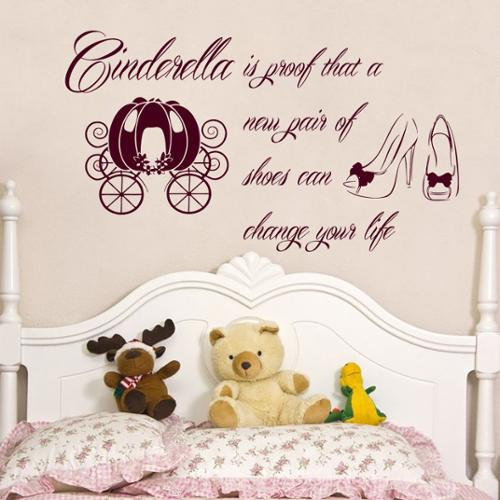 Stickalz llc Cinderella Is Proof That A New Pair Of Shoes Can Change Your Life Quotes Wall Art Sticker Decal Red