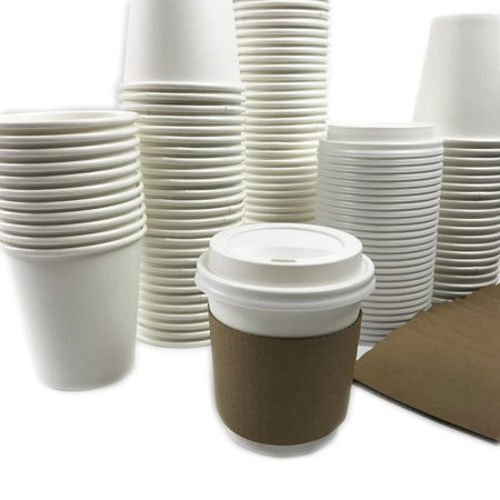 Black Cat Avenue 50 Sets 10oz Disposable Hot White Paper Cups with Lids and Sleeves For Hot Drinks Coffee Cocoa Chocolate Latte Cappuccino ()