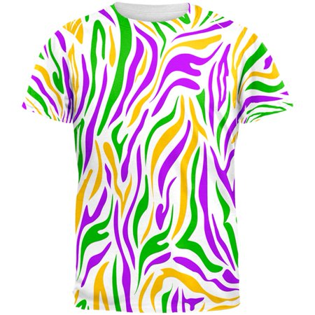 Mardi Gras Zebra Stripes Costume All Over Mens T Shirt - Striped Mardi Gras Shirts