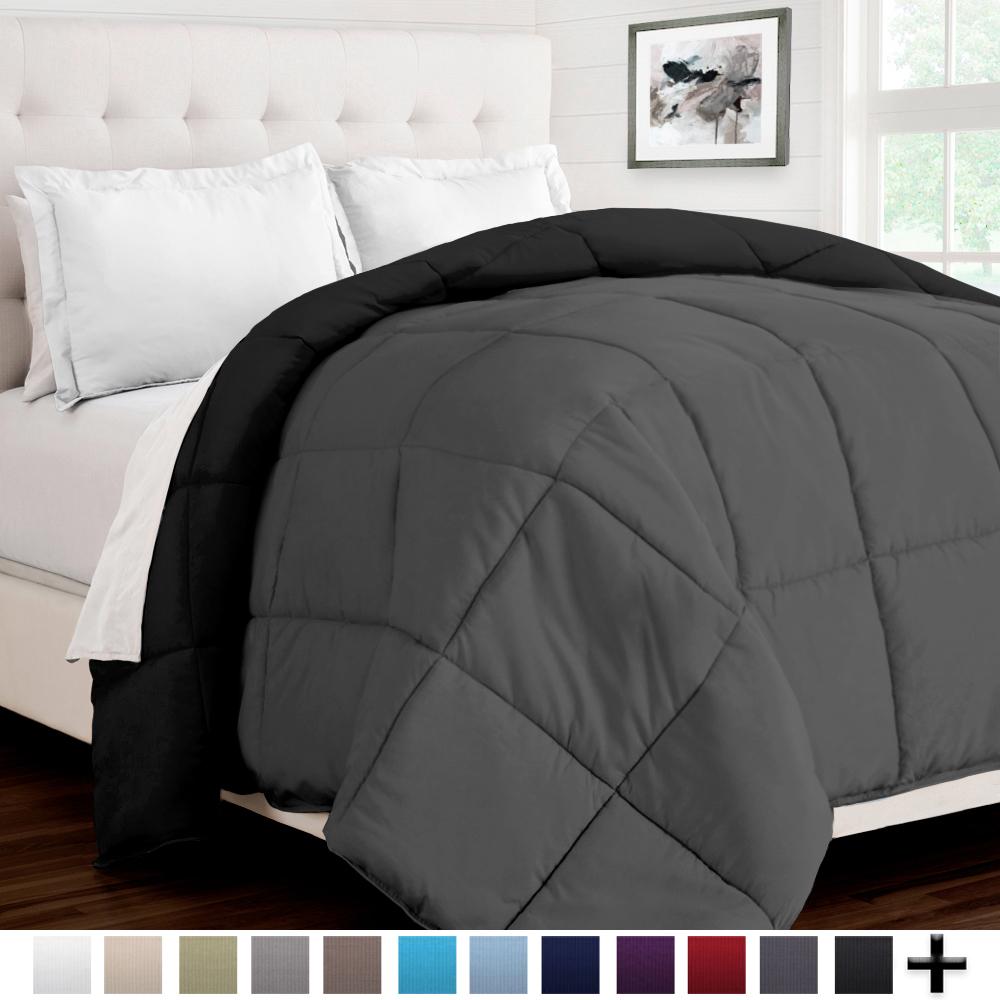 Ultra-Soft Premium 1800 Series Goose Down Alternative Reversible Comforter - Hypoallergenic - All Season - Plush Fiberfill (Full/Queen, Dark Blue/Light Blue)