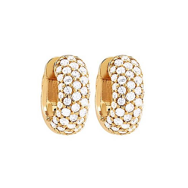 Fine Jewelry Vault UBNERV1ER043AGVYCZ CZ 5 Row Petite Vault Lock Hoop Earrings in 14kt Yellow Gold Over Sterling Silver