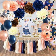Bridal Shower Decorations Navy Rose Gold Balloons Qian's Party Navy Peach Wedding Decorations/Navy Peach Bachelorette Party Decorations 30th/40th/50th Birthday Party Decorations/Baby Shower Decor