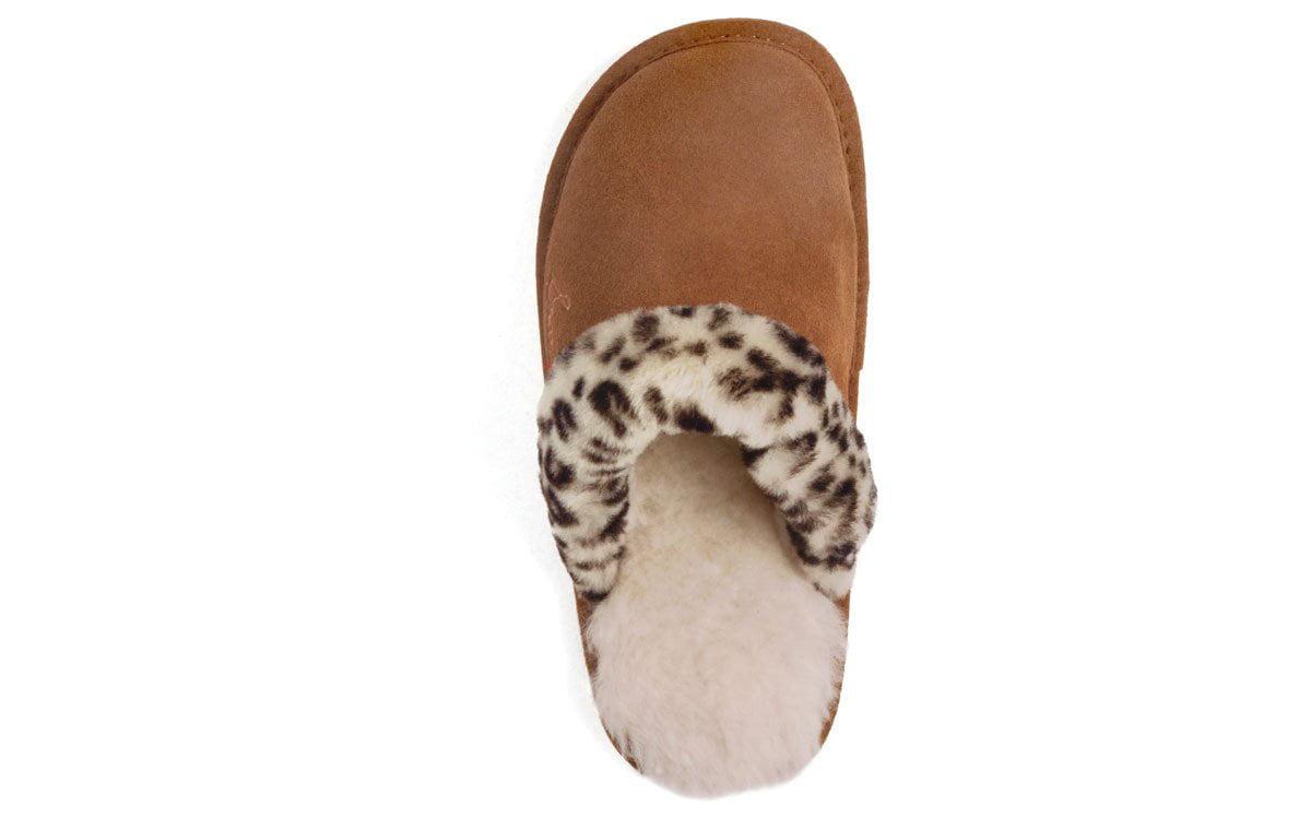 6d2a809c0f1 Comfy Feet - Snooki Scuff Sheepskin Slippers - Leopard or Zebra -  Walmart.com