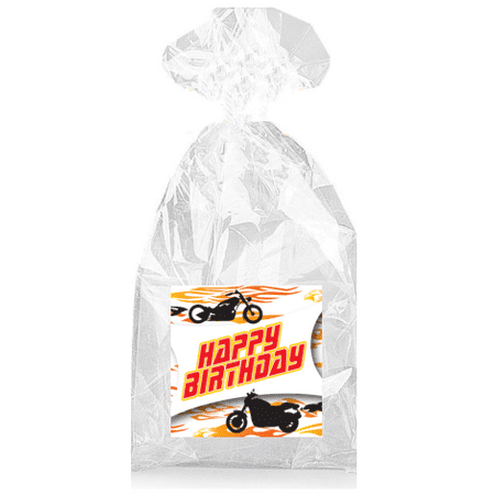 Motorcycle Hot Rod Happy Birthday  Party Favor Bags with Ties - 12pack - Motorcycle Birthday Party Supplies