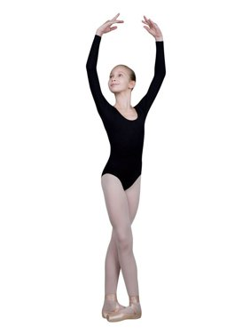 Sansha Girls Black Scoop Neck Long Sleeve Suzanna Dance Leotard 8-18