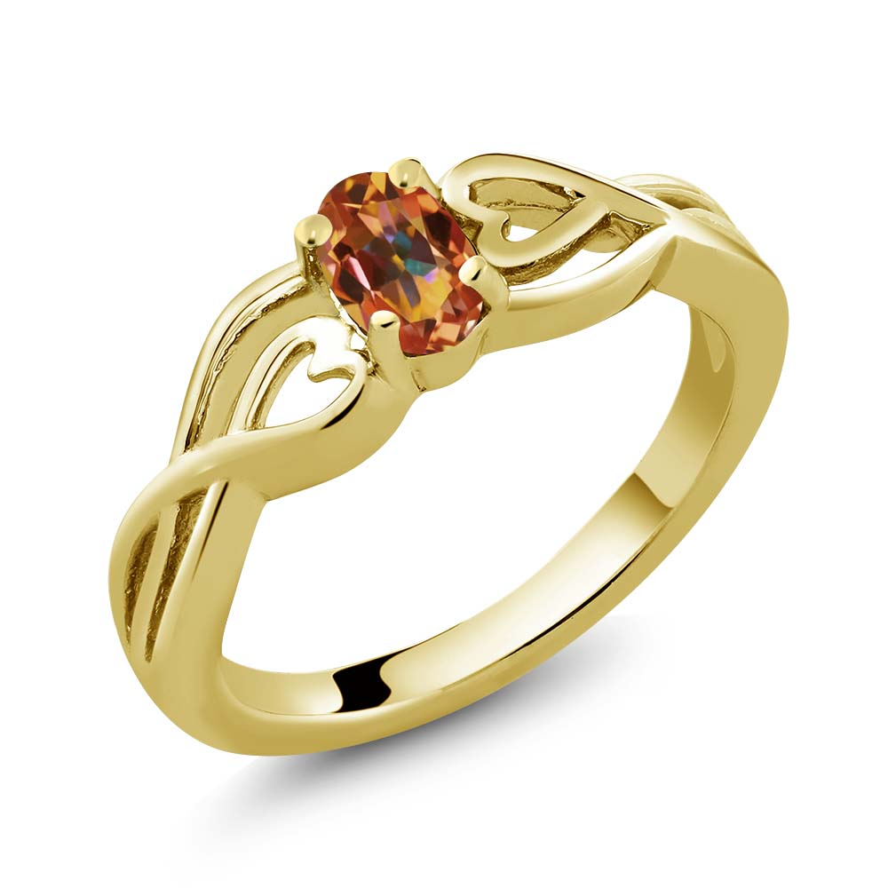 0.55 Ct Oval Ecstasy Mystic Topaz 14k Yellow Gold Ring by