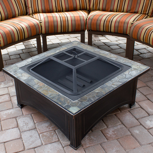 Hiland Square Slate Top Wood Burning Firepit by AZ Patio Heaters