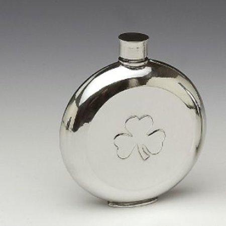 Mullingar Pewter Pocket Whiskey Flask Shamrock - Pewter Whiskey