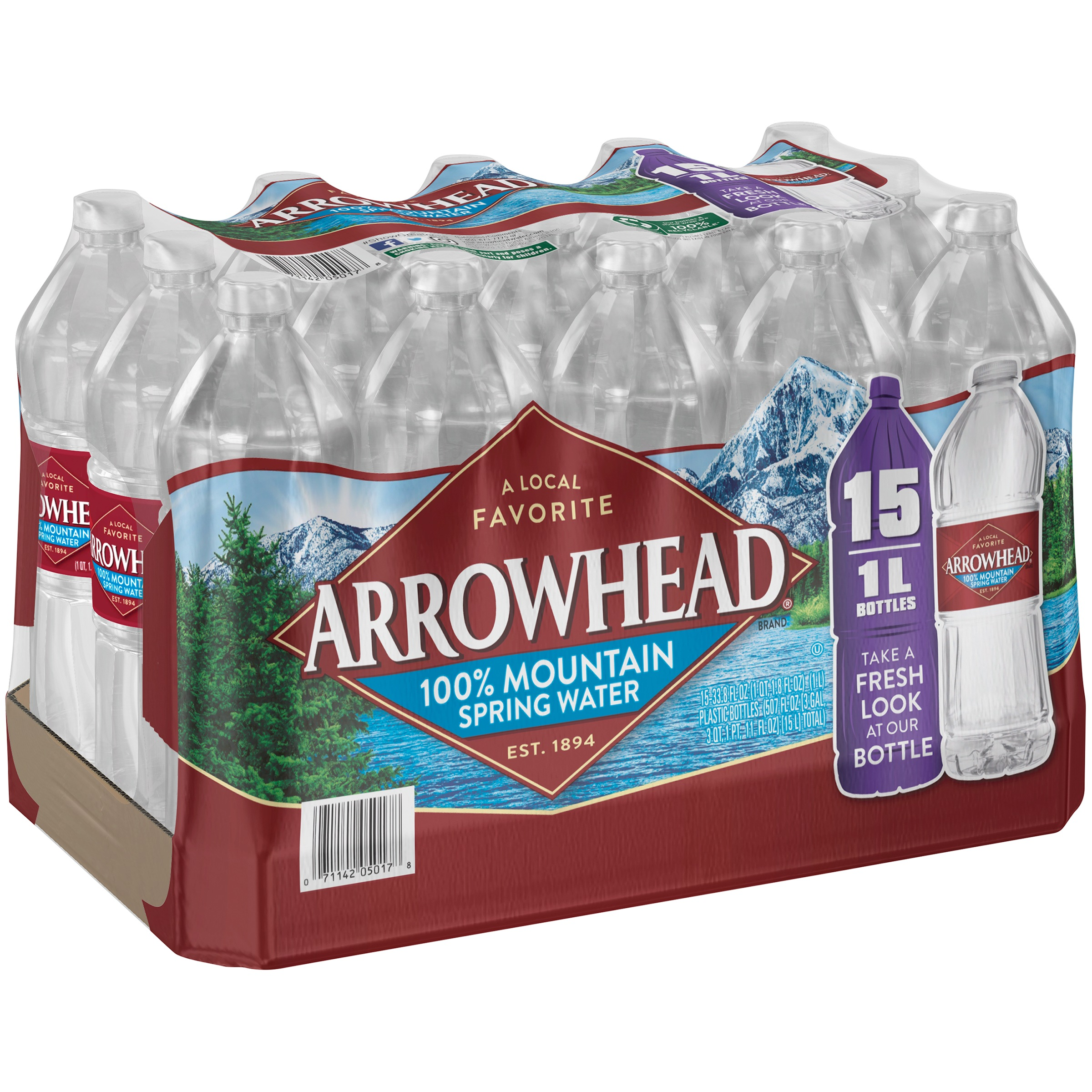 Arrowhead All Natural Mountain Spring Water, 1 L, 15 Count