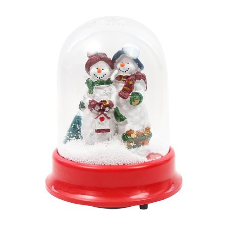Elegantoss Christmas Lighted Rotating Music Box Snow Globe with Snowman Couple Inside, Falling Snowflakes, Music Playing