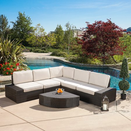Keystone Outdoor 6 Piece Wicker Sofa Set, Brown