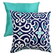 Pillow Perfect Decorative Blue and White Damask Square Toss Pillow
