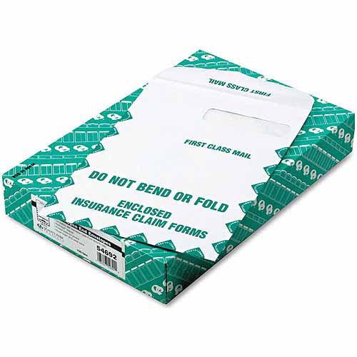 "Quality Park Redi-Seal Insurance Envelope, First Class, Side Seam, 9"" x 12-1/2"", White, 100/Box"