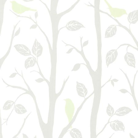 Brewster Corwin Light Green Bird Branches Wallpaper