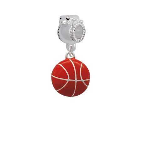 - Large Enamel Basketball - Frog Charm Bead