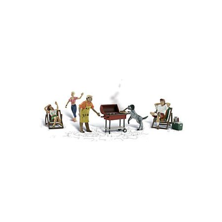 Scenic Accents Backyard Barbeque (4 Figures, 2 Chairs, Grill, Cooler & Dog) O, Decoration scenes Gauge 0 By Woodland Scenics