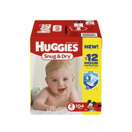 Huggies Snug   Dry Diapers  Size 2  104 Diapers