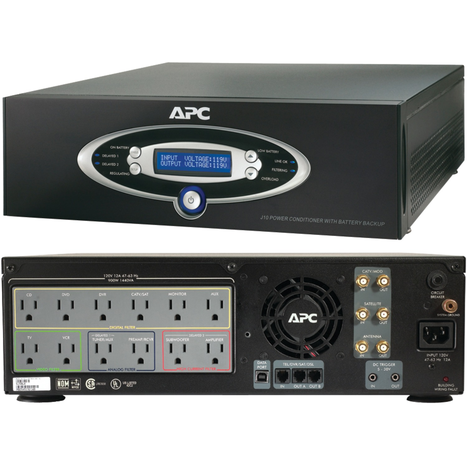 12-Outlet J-Type Power Conditioner with Battery Backup (Black; 3,200 Joules; 1,000VA; 600 Watts)