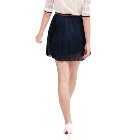 Allegra K Woman Pure Color Chiffon Pleated Skirt