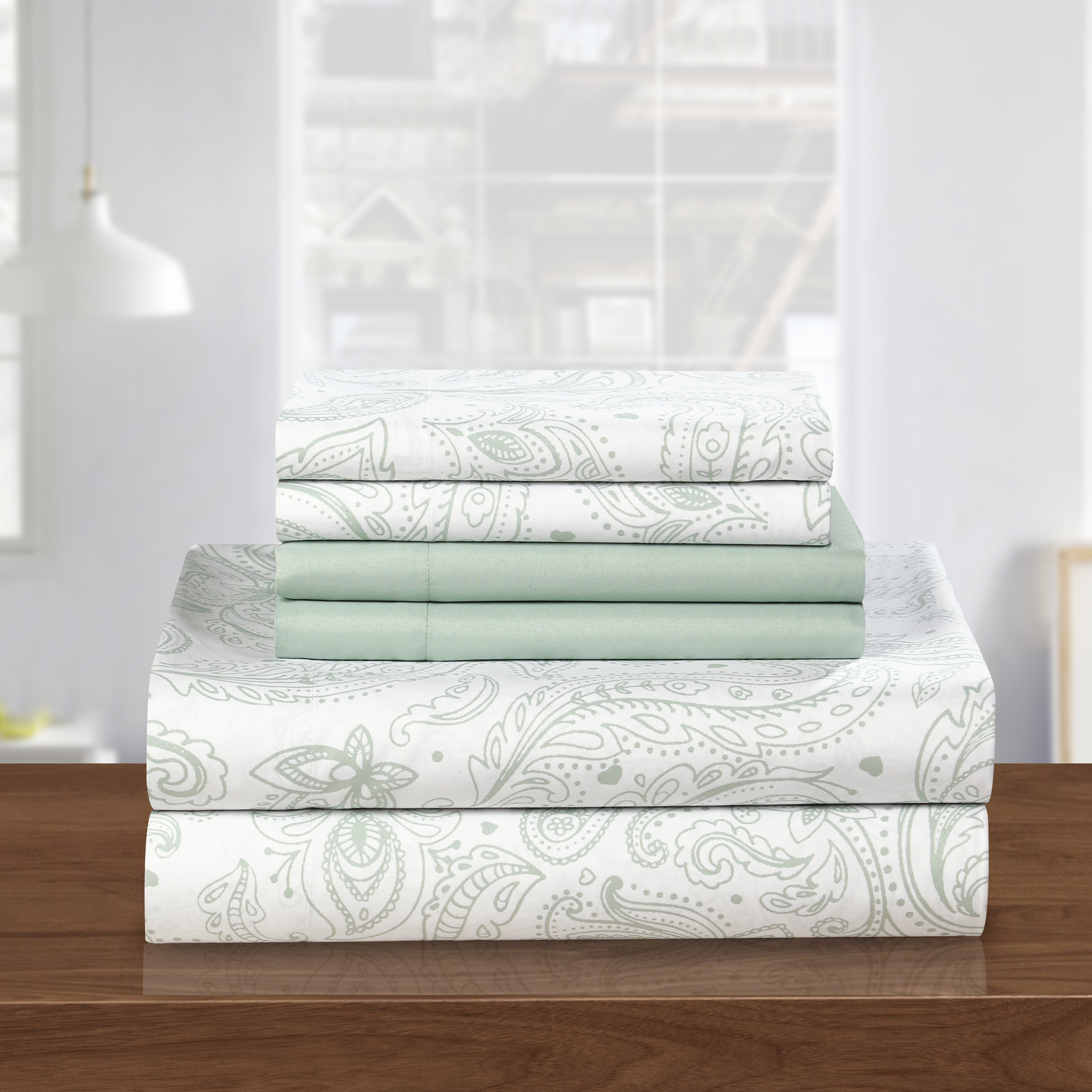 queen sheet set green product image chic home 6piece watkins park super soft microfiber vintage paisley pattern printed two tone - Queen Sheet Sets