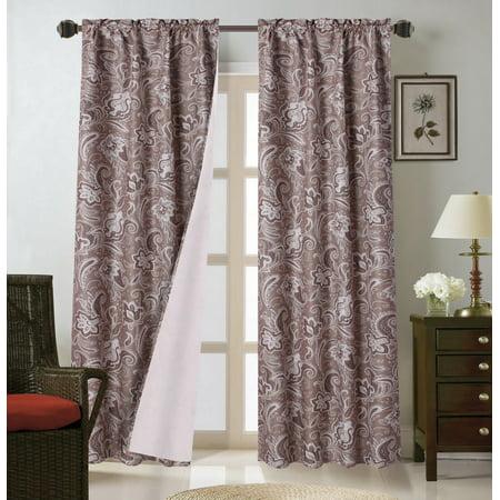 - WARDA-1 Paisley Floral  2pc Printed Blackout Room Darkening Window Curtain Treatment Set, Two (2) Rod Pocket Panels 37