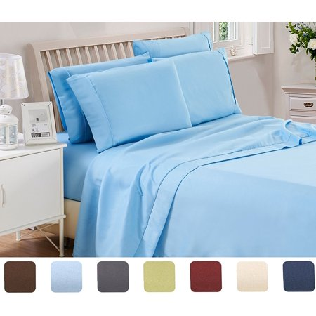 Lux Decor Collection Solid Bed Sheet Set (Twin, Blue), 3 Piece Deep Pocket 1800 Series Microfiber Bed Sheet Set Contains (1 Fitted Bed Sheet, 1 Flat Sheet, 1 Pillow Covers)