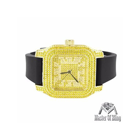 Techno Pave Mens Watches Canary Lab Created Cubic Zirconia Gold Finish Silicone Band New