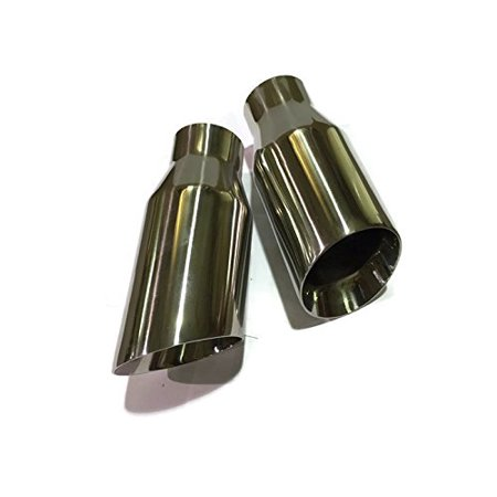 2 Cherry Bomb Style Stainless Steel Exhaust Tips Angle Cut 2.5