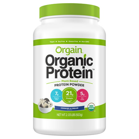 Orgain Organic Vegan Protein Powder, Cookies & Cream, 2.0 Lb (Vegan Halloween Cookies)