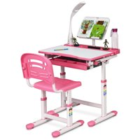 Gymax Height Adjustable Kids Desk Chair Set Study Drawing w/Lamp & Bookstand Pink