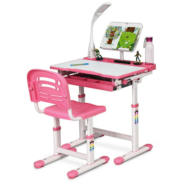 Gymax Height Adjustable Kids Desk Chair Set Study Drawing W Lamp Bookstand Pink Walmart Com Walmart Com