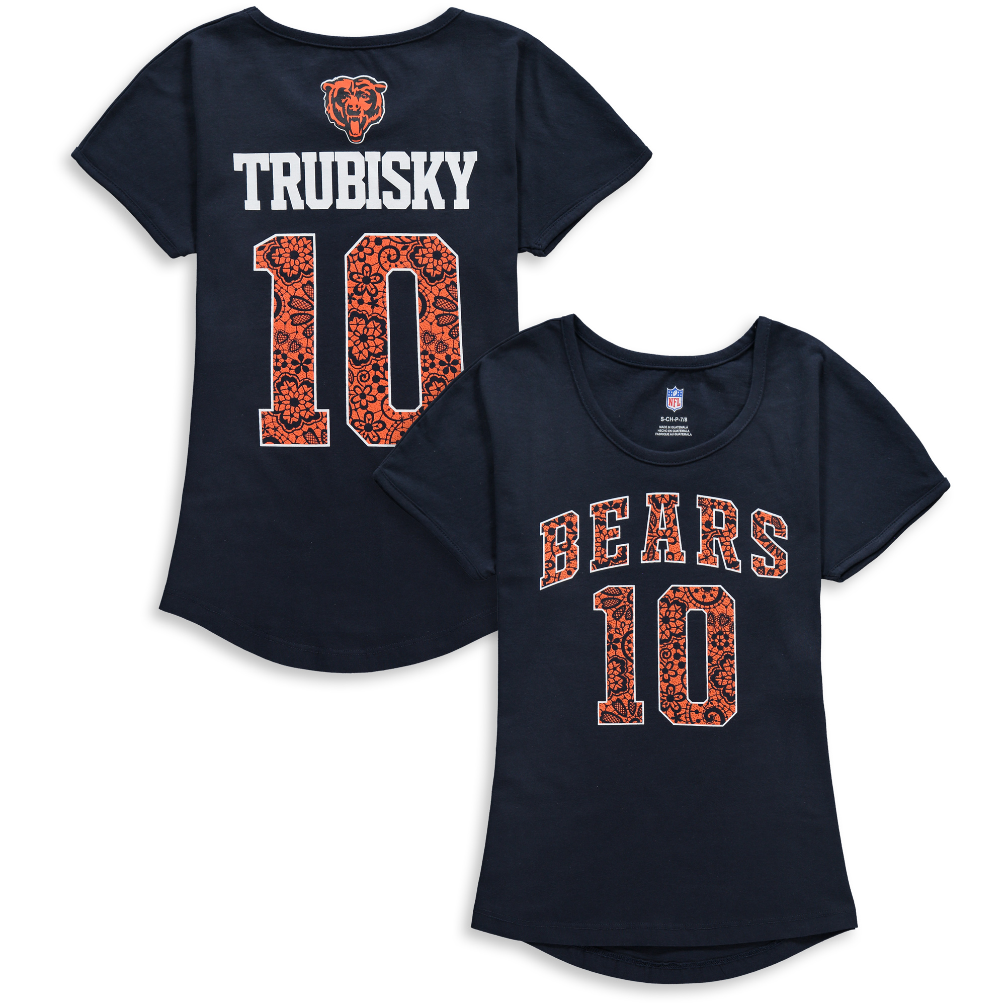 best cheap f37c3 6689c Mitchell Trubisky Chicago Bears Girls Youth Dolman Lace Player Name &  Number T-Shirt - Navy