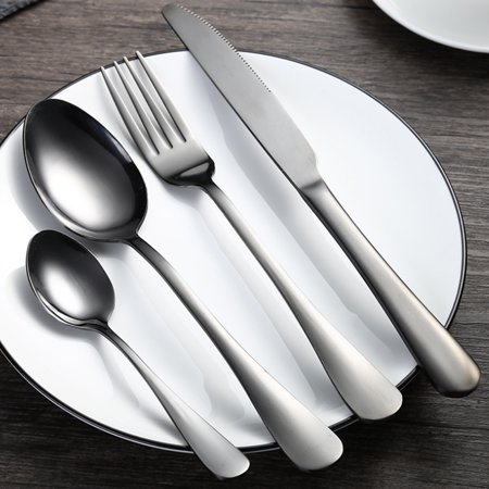 4pcs High-end Stainless Steel Cutlery Sets Western Food Knife Fork Spoons with Gift Box - Black