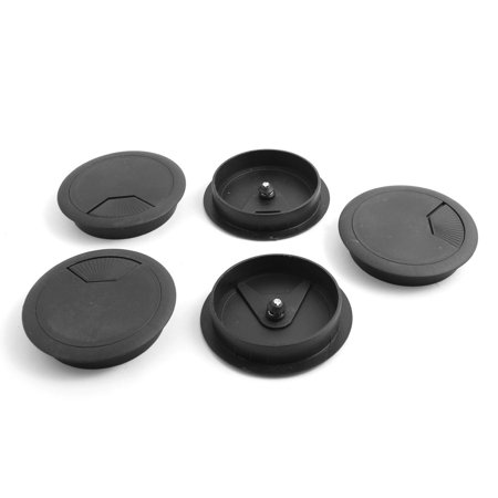 Computer Desk Round Grommet Tidy Cable Wire Hole Cover Black 80mm Dia 5 Pcs