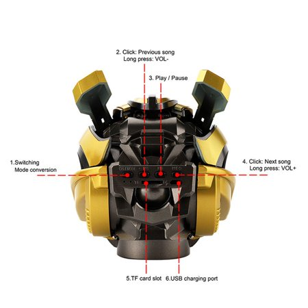 Bumblebee Helmet Wireless Speakers Stereo Loud Speakers FM Radio Mp3 Speaker - image 2 of 6