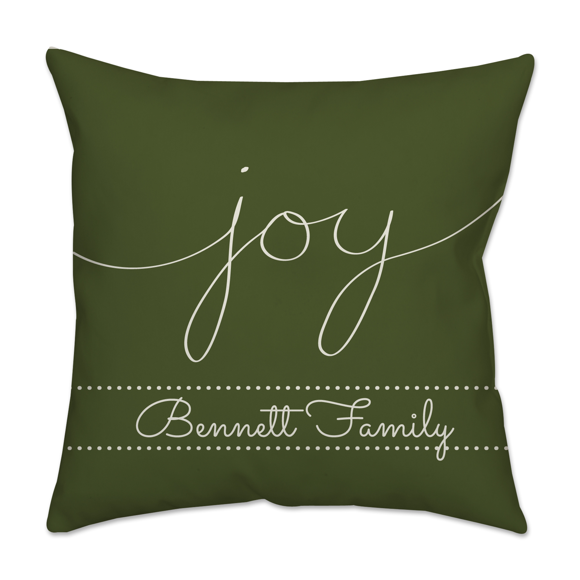 "Personalized ""Joy"" Poplin Square Throw Pillow in Green"