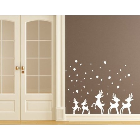 Reindeer in Snow Wall Decal - Christmas wall decal, sticker, mural vinyl art home decor - 4101 - Gray, 47in x - Christmas Wall Decor