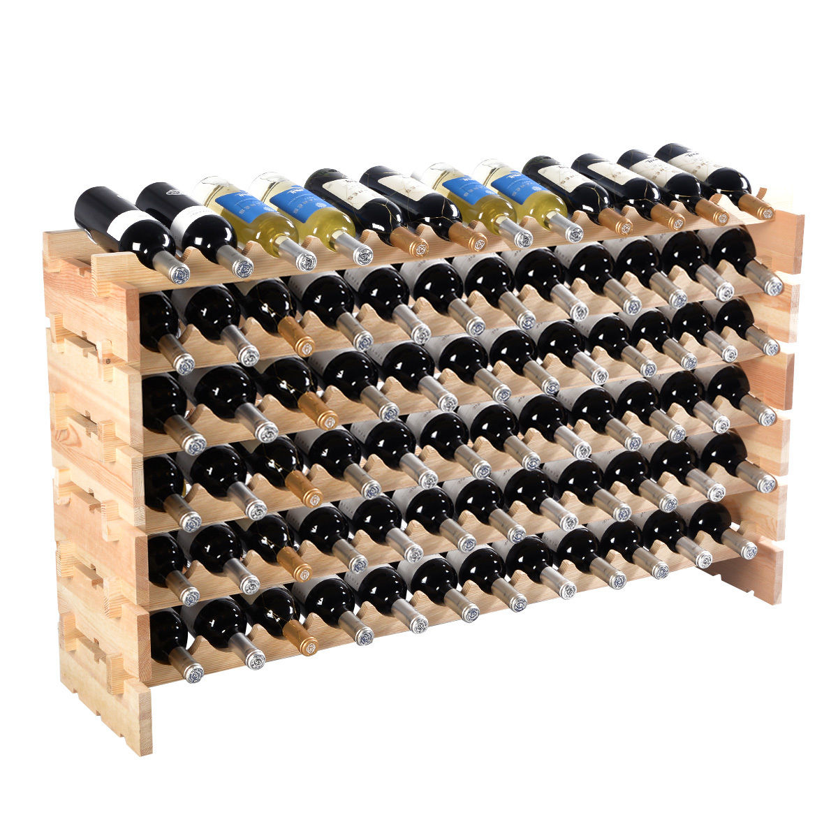 costway 72 bottle wood wine rack stackable storage 6 tier storage display shelves