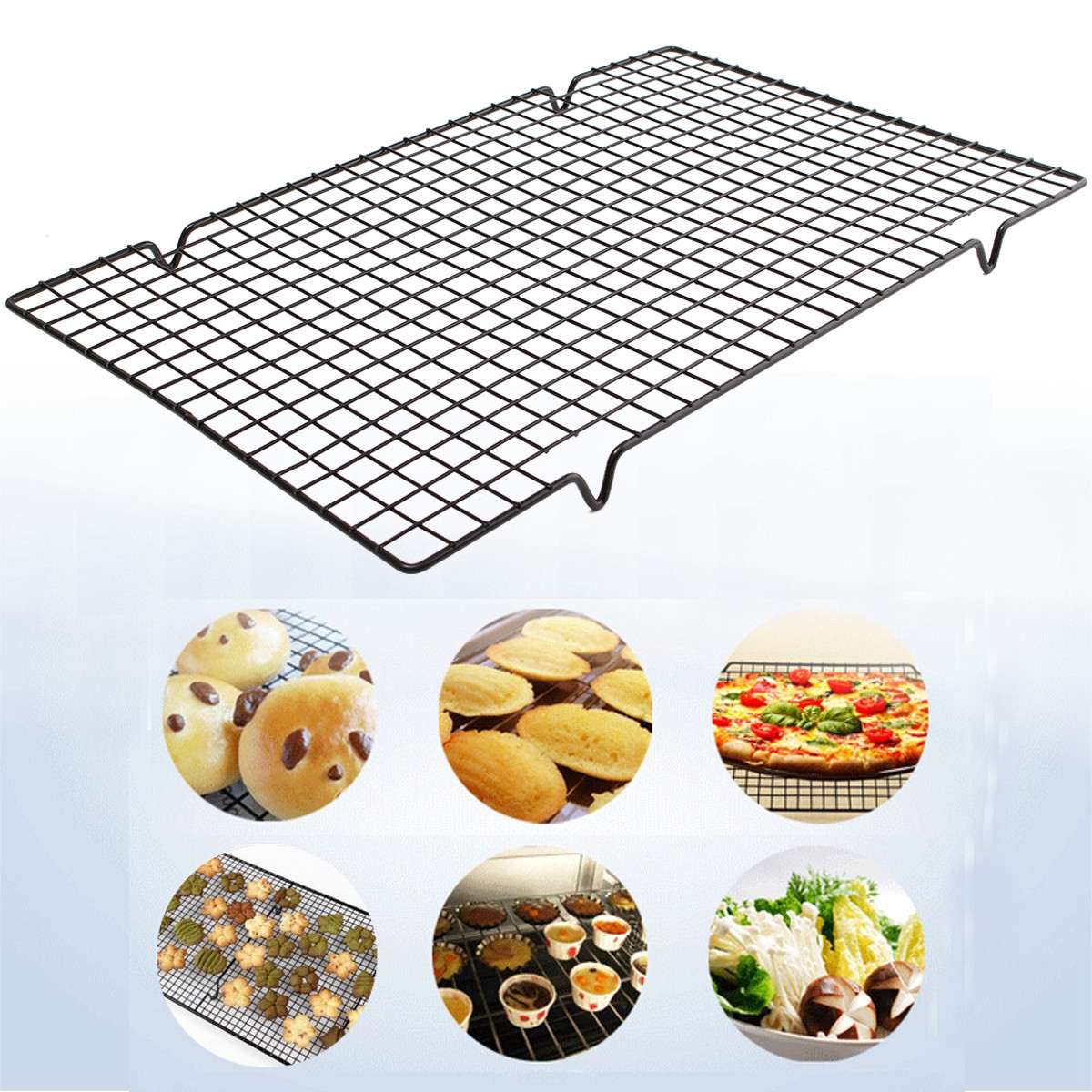 2pcs 25*40CM Perfect Results Nonstick Cake Cookies Baking Cooling Grid Rack by