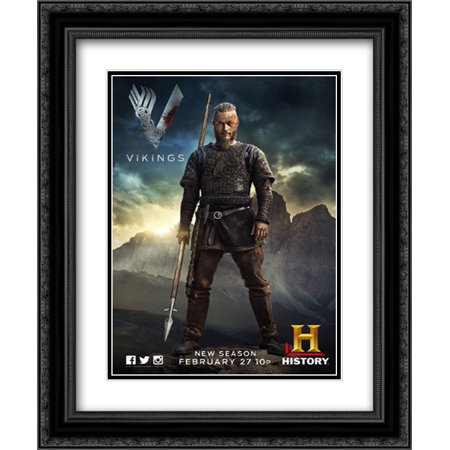 Vikings TV Series Show 20x24 Double Matted Black Ornate Framed Movie Poster  Art Print