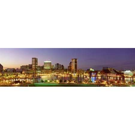 USA Maryland Baltimore City at night viewed from Federal Hill Park Canvas Art - Panoramic Images (40 x 12)