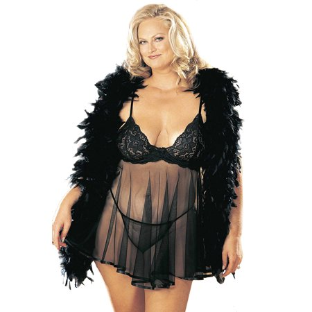 7f6b2a8b0a0c4 Plus Size Curvy Sexy Lace and Sheer Net Babydoll Lingerie - Walmart.com