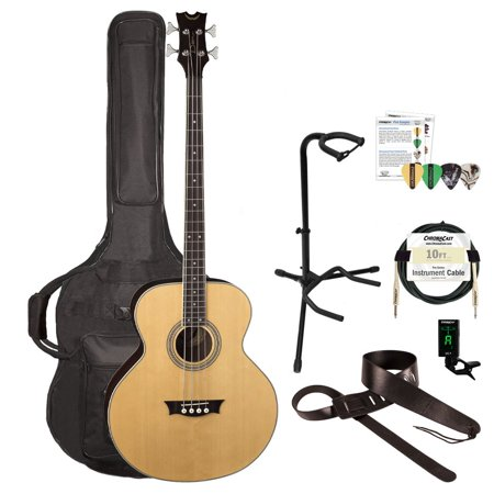 Dean EAB Acoustic-Electric Bass with ChromaCast Padded Gig Bag, Clip-On Tuner, Strap, Stand, Picks &