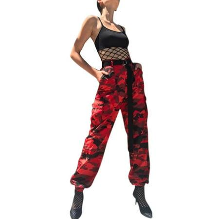 Lavaport Cool Women High Waist Camouflage Harem Pants Trousers Streetwear Plus Size S-3XL Stealth Camo Pant