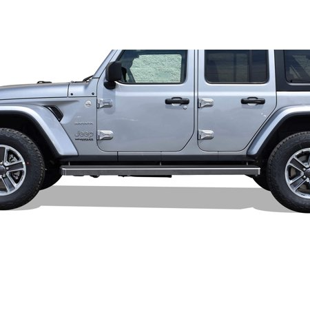 2018-2020 Jeep Wrangler JL 4 Door Hairline Finish 6 Inch Door to Door Side Bar Side Step Running Board