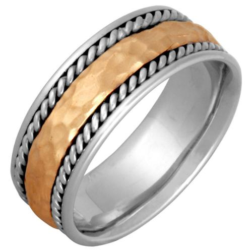 14k Two-tone Gold Men's Handmade Comfort-fit Hammered Wedding Band Size 11