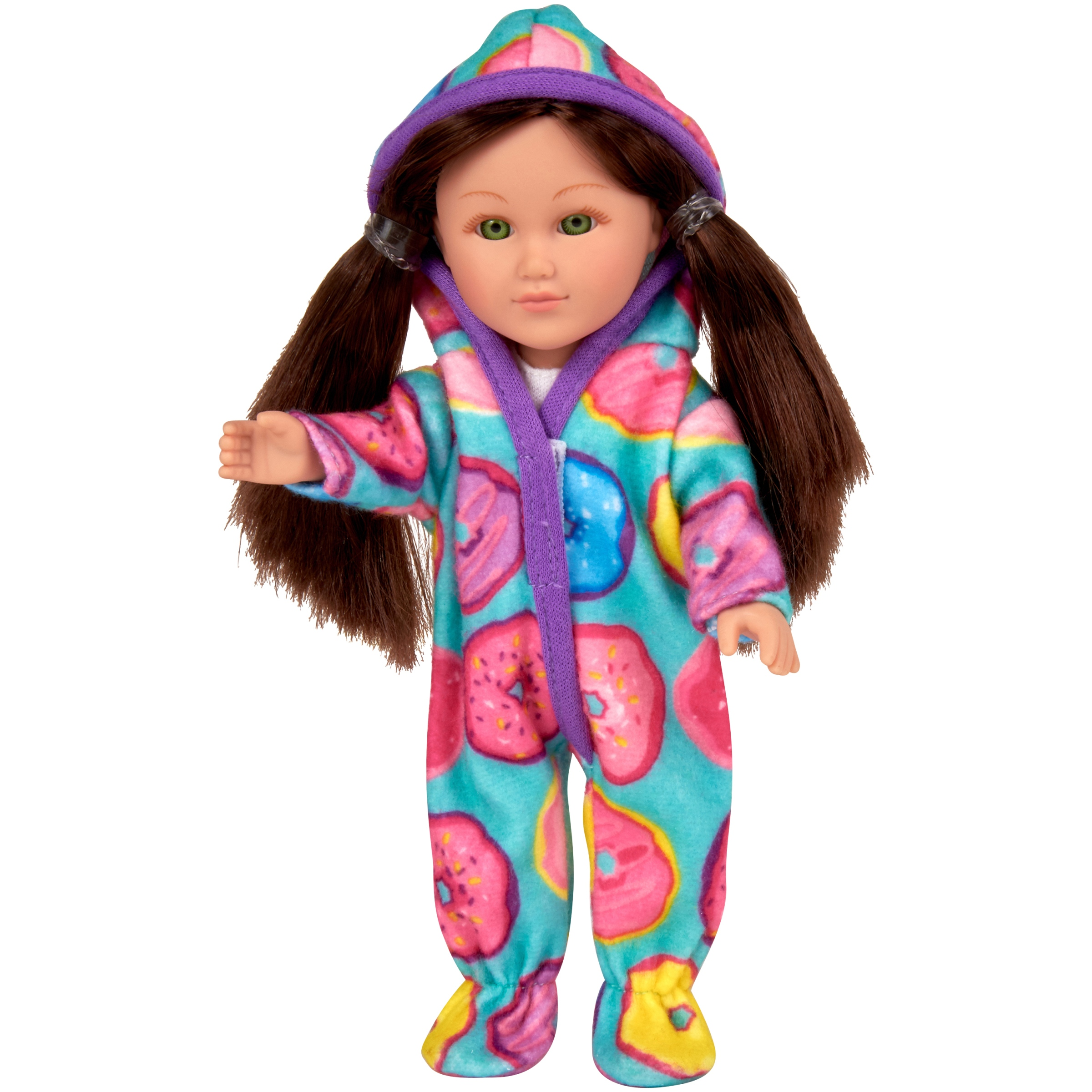 """My Life As 7"""" Mini Poseable Sleepover Host Girl Doll, Brunette Hair"""