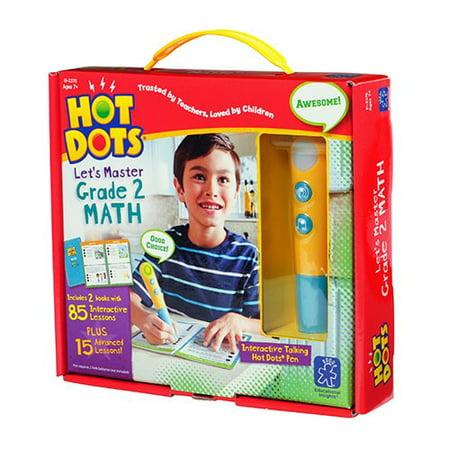 Educational Insights Hot Dots Let's Master Grade 2 Math Set with Talking Pen - Math Supplies
